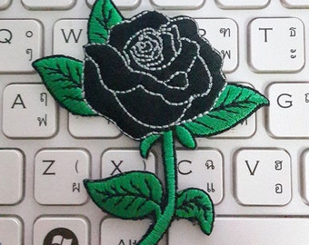 Rose Iron on Patch - Black Rose Applique Embroidered Iron on Patch