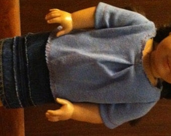 American Girl Doll 2 Piece Blouse and Denim Skirt