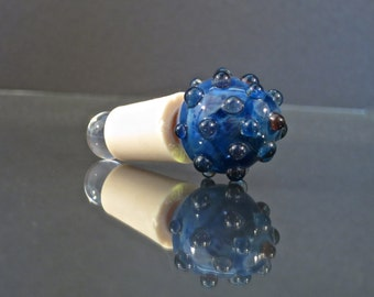 Handmade Glass Wine Bottle Stopper - Swirled Blue with Clear Bumps