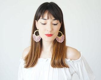Statement Earrings Spring Fashion Summer Trends Pink Earrings Boho-Chic Fashion Bohemian Earrings Gift for Her Women Accessory / GELARI