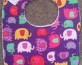 Purple Elephants Bib