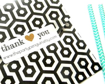 18 Thank You Gold Labels, Packaging Stickers, Shop Labels, Mailing Labels, Personalized Labels, Gold Heart, Rectangle Labels, Packaging