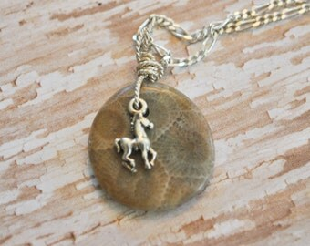 Petoskey Stone necklace with sterling horse charm,  , Michigan necklace, Up North