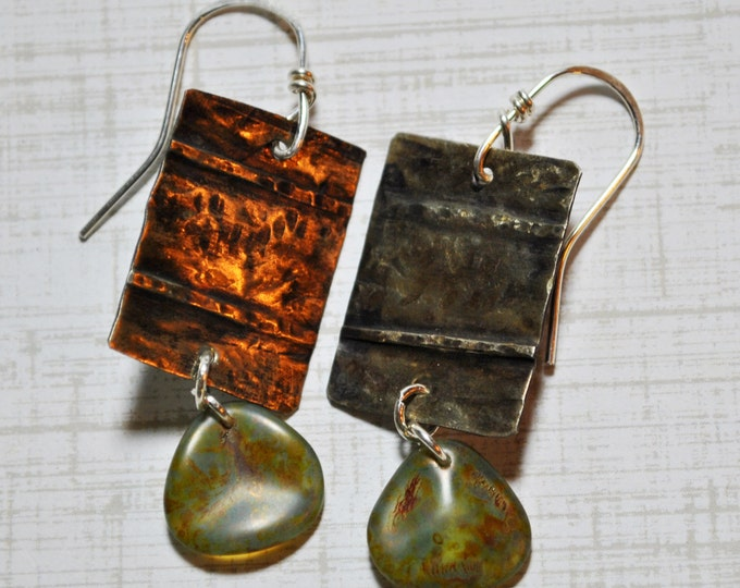 Silver nickel metal and Czech glass bead earrings, hammered metal earrings, rustic earrings, artisan earrings
