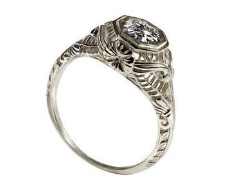 Edwardian style solitaire diamond Engagement ring 18k white gold natural diamond filigree engagement ring, antique style gold diamond ring