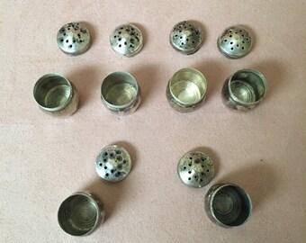Sterling Silver Individual Salt and Pepper Shakers, Cellars, Vintage