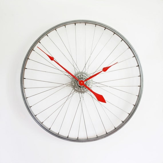 Bike Design Wall Clock : Large wall clock bicycle wheel bike
