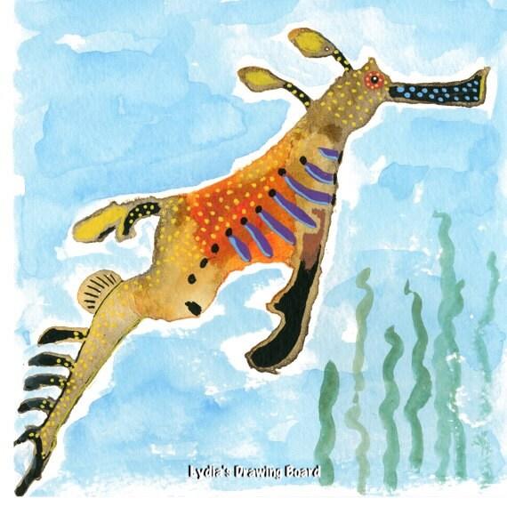 Sea Dragon, Marine Art, Ocean Artwork, Whimsical Art, Art for Kids Room, Sea Creatures, Kids Room Wall Decor, Sea Animals, Beach House Art