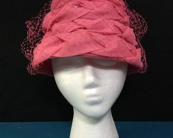 Bubblegum Pink 1960s Cloche Flower Pot Bucket Lampshade Beehive Hat
