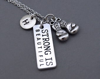 Strong is beautiful, Boxing glove necklace, Boxing glove charm, Boxer, Fighting gloves, Figther's gloves, Inspire charm, Inspirational charm
