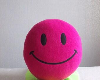 Children's pillow, Smiley face, emoji pillow, happy face, emoji, smile pillow, Smiley face pillow, smiley pillow, PINK smiley, Pink emoji
