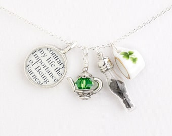 Oscar Wilde / Irish Tea Necklace / St Patricks Day / Oscar Wilde Jewelry / Literary Tea Jewelry / St Patricks Jewelry / Shamrock Teacup