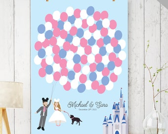 Fairytale Wedding Guest Book Alternative - Princess Castle Guest Book Balloons - Unique Guestbook Sign in - PRINTABLE DIGITAL file