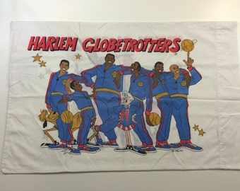 Harlem Globetrotters Pillowcase Pillow Case Basketball Team NBA New York Comedy Tricks Slam Dunk Fabric Sheet Red White Blue Funny 1990s 90s