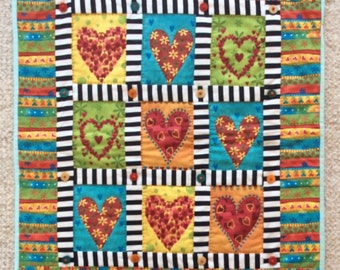 Happy heart quilt, Quilted Art, quilted wall hanging, home decor, fabric art
