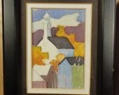 Impressionist Watercolor Painting Landscape Miniature Art Original Vintage Decor Small Town Cityscape Autumn Leaves Fall New England Church