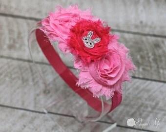 Pink Easter Headband - Easter Bunny Headband - Pink Flower Headband - Pink Bunny Headband - Newborn - Baby - Girl - Adult - Photo Prop