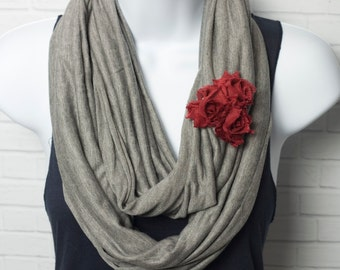 Organic Infinity Scarf - Gray Bamboo and Organic Cotton Lightweight Jersey with Red Chiffon Shabby Flowers Circle Scarf Ready to Ship