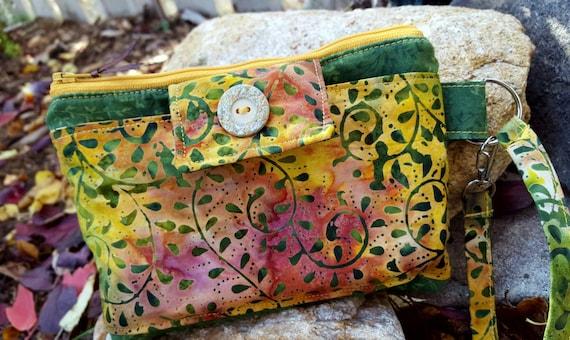 Batik Phone Wristlet, Zippered Wristlet