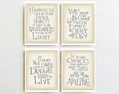 Harry Potter prints Albus Dumbledore quote set of 4, inspirational wall art print, typography home decor, college student gift Just for him