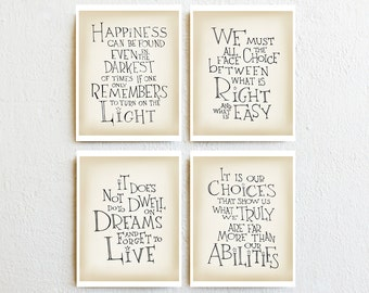 Albus Dumbledore quote prints set of 4, minimalist wall art print, motivational home/dorm decor, graduation gift for Harry Potter lover