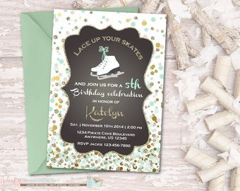 Winter Birthday Invitation, Ice Skating Invitation, Ice Skating Birthday Invitation, Winter Wonderland Birthday Invitation, Glitter