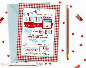 Bun in the Oven Baby Shower Invitation, bun in the oven invitation, Baby Shower Invitation, Red and Blue, Gingham, BBQ, Baby Shower