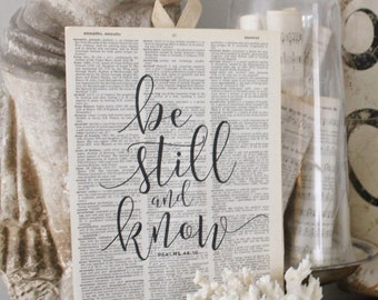 Be Still And Know Wood Sign Vintage Dictionary Book Page Wall Art Print Scripture Verse French Farmhouse Decor Bible Scripture Verse