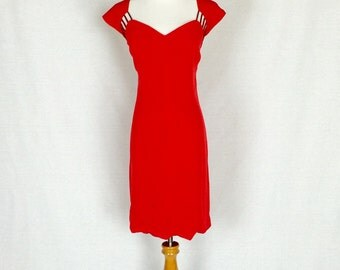 Vintage 80s Dress/ 80s Niteline Sweetheart Cutout Beaded Red Dress/ 12