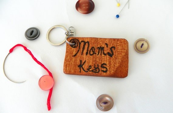 Mom's Keys Reclaimed Wood Key Chain from Feath & Kee