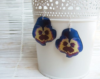 Transparent Earrings Resin Earrings Blue Earrings Blue Yellow Pansies Earrings Blue Flower Earrings Boho Accessories Bridesmaids Gift