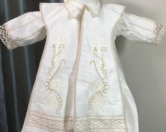 Ben Baptism outfit for Boy, Four piece Christening set, Blessing outfit, Traje de Bautizo, Ropon del papa para nino, Ajuar Bautismal