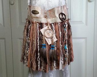 Hippie Gypsy Fringe Bag - Native American Navajo Dream Catcher - Bohemian Hippie Fringe Bag - Boho Bag - Cross Body Bag