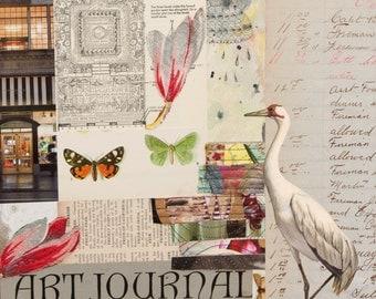 Mixed Media Collage Print | 'Art Journal' | Butterflies, Birds, Flowers | Home Decor | Art for Walls | Vintage Garden Design | Nuetral, Pink