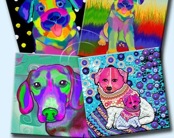 FUNKY DOGS -  Printable Digital Collage Sheet 12 X 4 inch squares for Coasters, Greeting Cards, Gift Tags.  Instant Download #216.