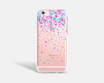 Cute iPhone 7 Case Clear Hearts iPhone 7 Plus Case iPhone 6 Plus Case Clear Heart iPhone Case Samsung S7 Case Clear Valentines Gifts