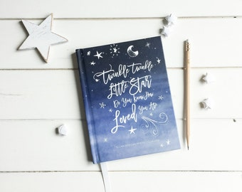 Twinkle Little Star Baby Shower Guestbook.  Baby Shower Advise Book. Twinkle Little Star Baby Shower gift. Baby journal. Baby Book Keepsake