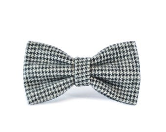 Houndstooth Flannel Pet Bow Tie - Black and Grey Checkered Dog Bow Tie