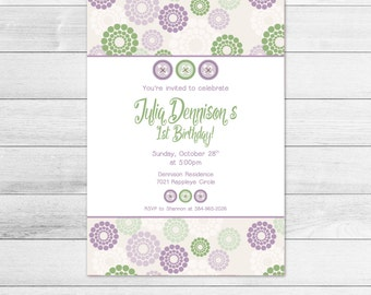 Purple Button Printable Birthday Party Invitation