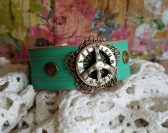 PeAcE Sign Concho Turquoise Leather Cuff Bracelet> Hand Made Leather/ Bangle/ Narrow Cuff Bracelet/ Peace Sign/ Hippie Jewelry/ Retro/ Boho