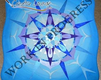 Blue Mandala Painted Table