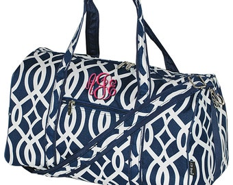 Canvas Duffle Bag, Personalized,Overnight Duffle Bag,Cheer Duffle Bag,Bridesmaid Gift,Monogram Duffle,Monogram Duffle,Navy Vine 17.5""