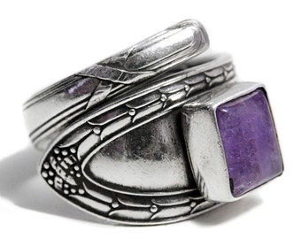 Spoon Ring Amethyst Alpacca Silver antique Art Nouveau Jewelry
