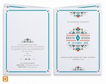 Mexico Destination Wedding Printable Wedding Program Booklet with Print-at-Home Thank You Card Printready Wedding Dinner Menu and Place card