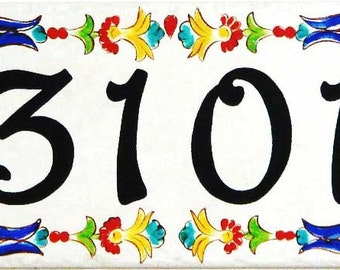 A touch of color on your house number plaque to start your entry curb appeal, Porcelain ceramic house number sign. Italian home numbers sign