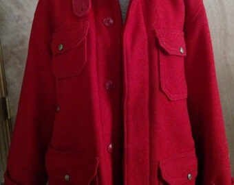 Vintage Woolrich - Red 100% Wool and Suede Lined Jacket Ladies