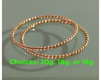 14k twisted rings, 14k Yellow gold Twist stack rings