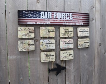 """Air Force Sign - Extra Large - """"Home is Where the Air Force Sends Us"""" Duty Station Sign Retirement Sign"""