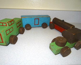 Primitive Wood Toy Train Set Home Made