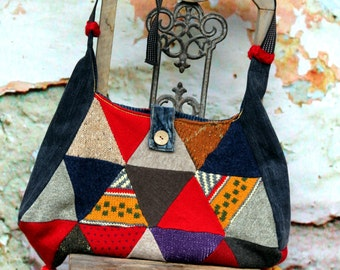 Colorful sweater patchwork hippie boho recycled bag